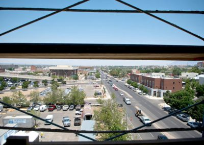 North-facing view of Broadway from the top floor of the Lobo Rainforest Building